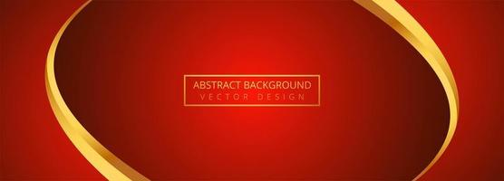 Abstract golden wave with red banner background vector