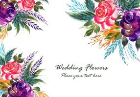 Romantic wedding flowers card background vector