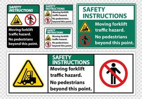 Moving forklift traffic hazard set vector