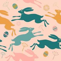 Seamless Easter pattern with rabbits and eggs. vector