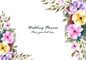 Wedding decorative flowers frame with invitation card background