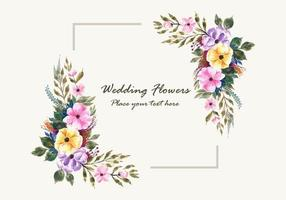 wedding invitation flowers frame card design vector
