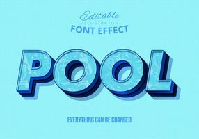 Pool text, editable text effect vector
