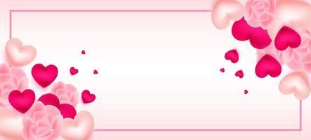 San Valentino con cornice, cuori e rose
