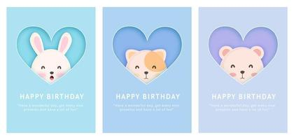 Baby shower card set vector