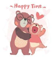 flat happy daddy and son teddy bear hug with happy time