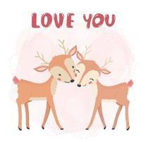 Couple de rennes souriant et embrassant avec amour vous texte