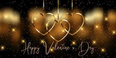 Elegante pancarta dorada del día de San Valentín