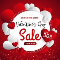 Valentine day sale banner promotion vector