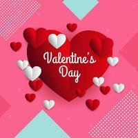 Valentine day sale discount card with hearts vector