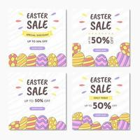 Easter sale banner templates with colorful eggs