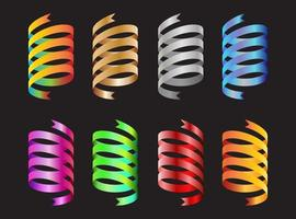 Collection of colorful spiral ribbon decorative elements vector