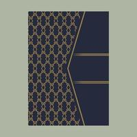 Elegant cover page with gold pattern and angle design vector