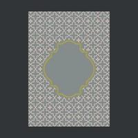 Capa cinza com moldura e padrão decorativo dourado