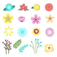 Conjunto de adorável floral, elemento de flor em estilo gráfico moderno