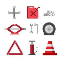 emergency car tool kit, repair flat icon set
