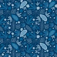 Seamless tropical pattern with blue leaves.