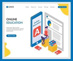 Online  Education isometric landing page