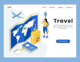 isometric Travel landing page design