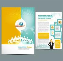 business flyer template with halftone and map vector