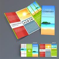 Diseño de folleto comercial con tema al aire libre