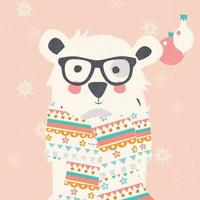 Christmas postcard with hipster polar bear wearing scarf