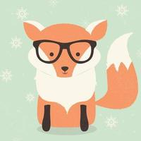Merry Christmas postcard with fox wearing glasses vector