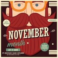 Diseño de póster de noviembre sin afeitar