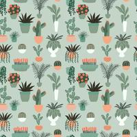 Seamless pattern with collection of hand drawn indoor house plants. Collection of potted plants. Colorful flat vector illustration