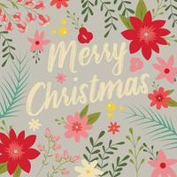 Typographic Merry Christmas with floral elements