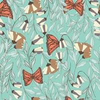 traditional seamless pattern with Monarch butterflies
