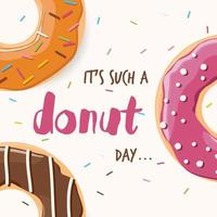 Poster with colorful glossy donuts