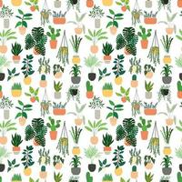 Seamless pattern with collection of drawn indoor house plant