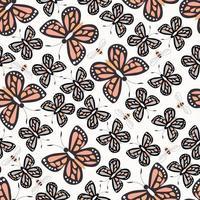 Modèle sans couture avec papillons et abeilles, vie nature