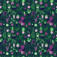 Seamless pattern with collection of hand drawn indoor house plant