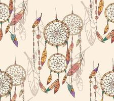 Hand Drawn Bohemian Dream Catcher Seamless Pattern vector