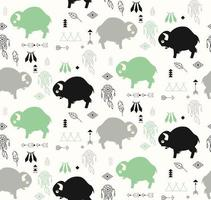 Seamless pattern with buffaloes and native American symbols