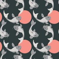 Seamless pattern with carp koi fish and suns on dark gray vector