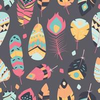 Seamless pattern with boho vintage tribal feathers vector