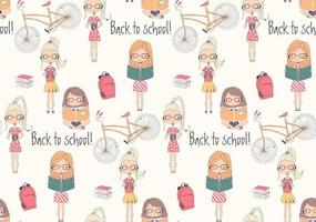 Back to school seamless pattern with school girls, bicycle and books vector