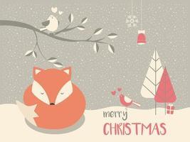 Cute Christmas sleepy baby fox