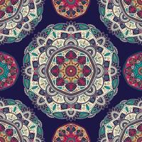 Seamless pattern with ornamental floral ethnic mandalas vector