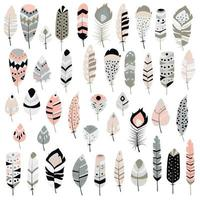 Collection of boho tribal hand drawn feathers