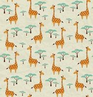 Seamless pattern with giraffes and trees