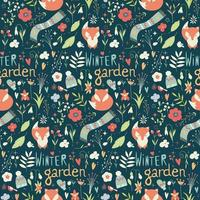 Seamless pattern with flowers, foxes, scarf, hat and mittens