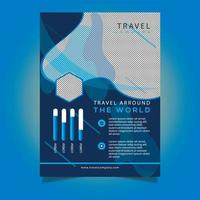 Blue Tone Travel Agency Flyer Template vector