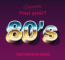 Bold script retro text style font effect vector
