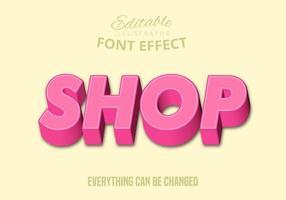 Shop text, editable text style vector