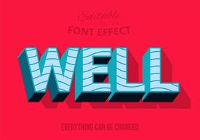 Well text, editable text style vector