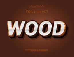 Wood text, editable text effect vector
